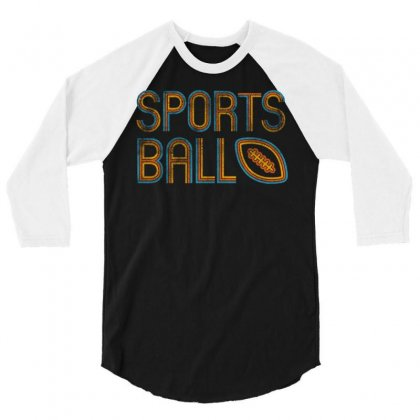 Retro Sports Ball 3/4 Sleeve Shirt Designed By Milaart