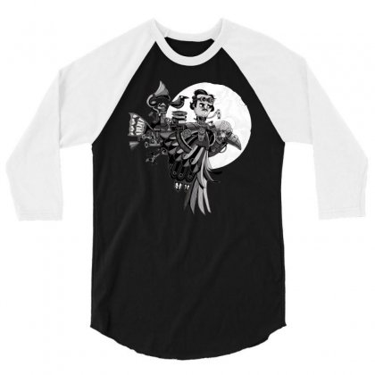 Ride The Raven 3/4 Sleeve Shirt Designed By Milaart