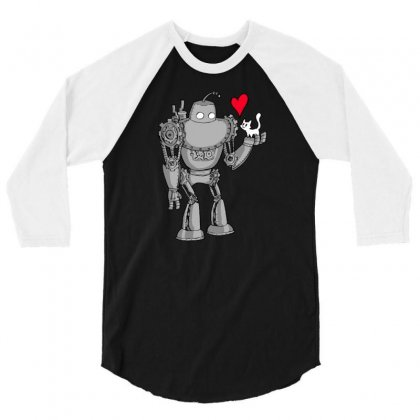 Robot Loves Kitty 3/4 Sleeve Shirt Designed By Milaart