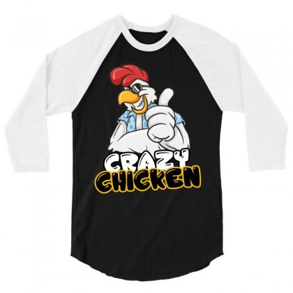 Crazy Chicken 3/4 Sleeve Shirt Designed By Wizarts