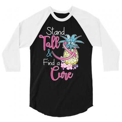 Stand Tall Find A Cure 3/4 Sleeve Shirt Designed By Wizarts