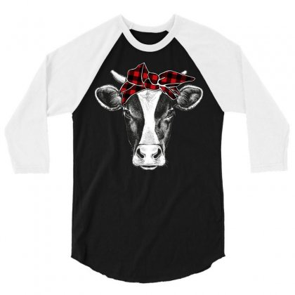 Cows Bandana Christmas Pattern 3/4 Sleeve Shirt Designed By Omer Acar