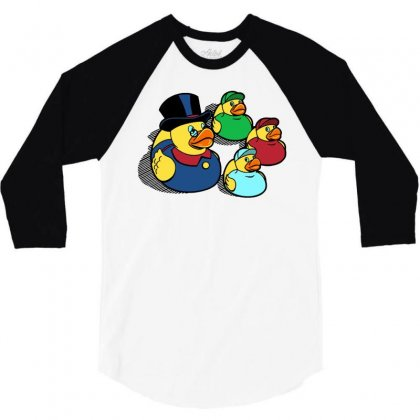 Rubber Ducky Tales 3/4 Sleeve Shirt Designed By Milaart
