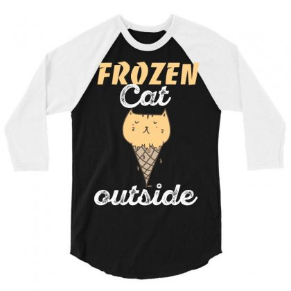 Frozen Cat Outside 3/4 Sleeve Shirt Designed By Wizarts