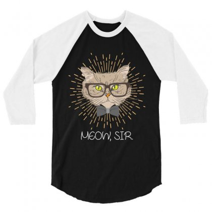 Meow, Sir 3/4 Sleeve Shirt Designed By Wizarts