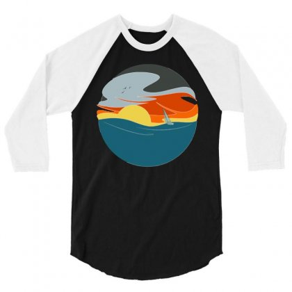 Sailing To The Sunset 3/4 Sleeve Shirt Designed By Milaart