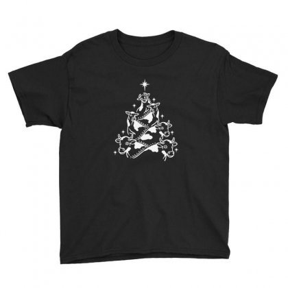 Cow Heifer Christmas Tree Youth Tee Designed By Sr88
