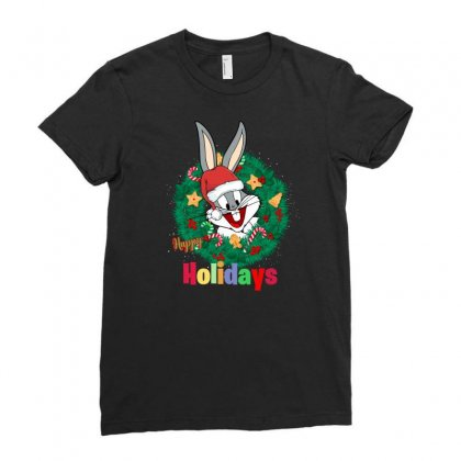 Happy Holidays Ladies Fitted T-shirt Designed By Zeynepu