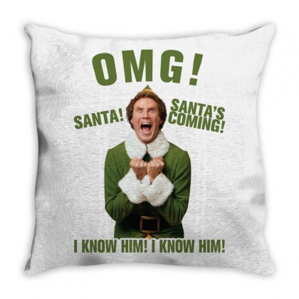 Omg Santa's Coming Elf Throw Pillow Designed By Neset