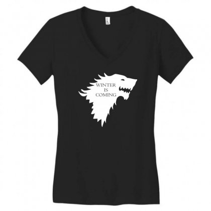 Winter Is Coming Women's V-neck T-shirt Designed By Lyly