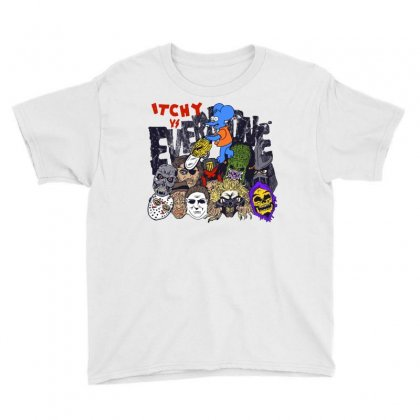 The Simpsons Movie 2 Itchy Vs. Everyone Youth Tee Designed By Dameart