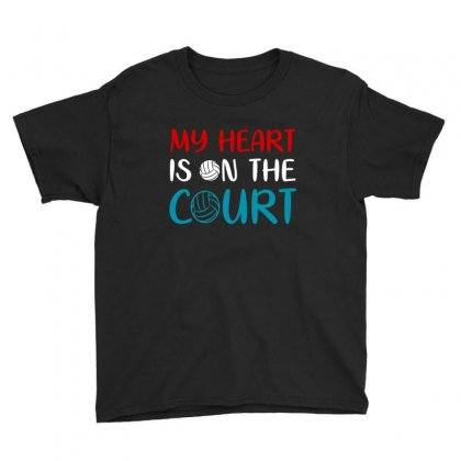 My Heart Is On The Court Volleyball Lover Funny Gift Youth Tee Designed By Sr88