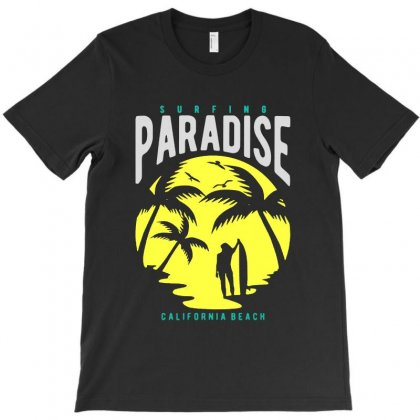 Surfing Paradise California Beach T-shirt Designed By Rodgergise