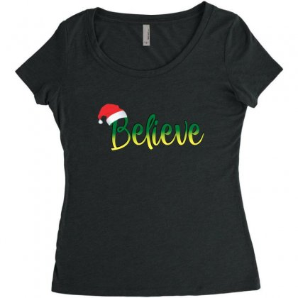 Believe Christmas Best Santa Hat Christmas Women's Triblend Scoop T-shirt Designed By Sr88