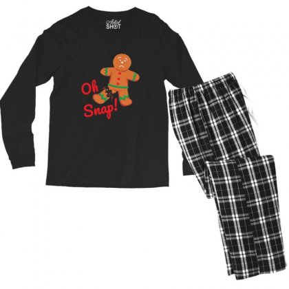 Oh Snap Funny Gingerbread Man Christmas Men's Long Sleeve Pajama Set Designed By Sr88