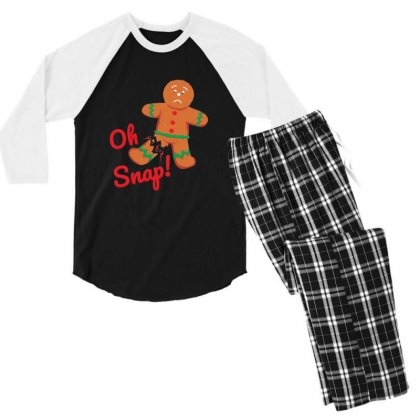 Oh Snap Funny Gingerbread Man Christmas Men's 3/4 Sleeve Pajama Set Designed By Sr88