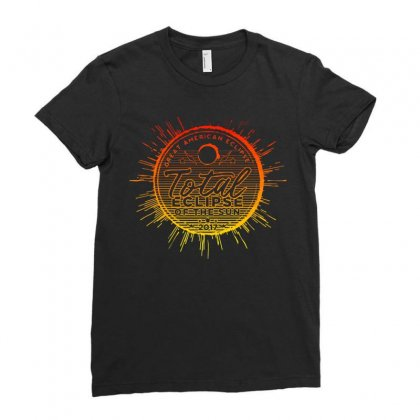 Total Eclipse Of The Sun Ladies Fitted T-shirt Designed By Dameart
