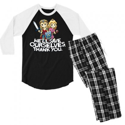 Tough Princesses Men's 3/4 Sleeve Pajama Set Designed By Dameart