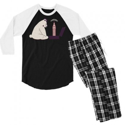 Tourist Bear Visits London Men's 3/4 Sleeve Pajama Set Designed By Dameart
