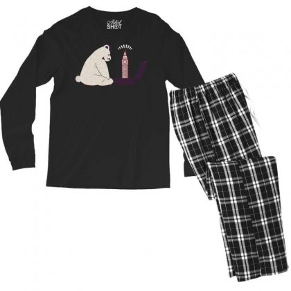 Tourist Bear Visits London Men's Long Sleeve Pajama Set Designed By Dameart