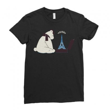 Tourist Bear Visits Paris Ladies Fitted T-shirt Designed By Dameart