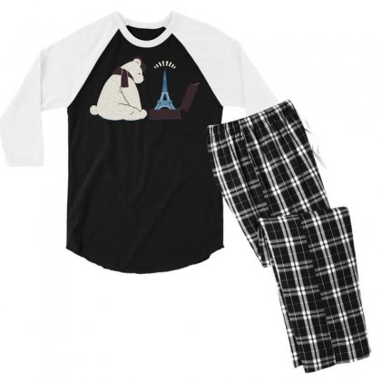 Tourist Bear Visits Paris Men's 3/4 Sleeve Pajama Set Designed By Dameart