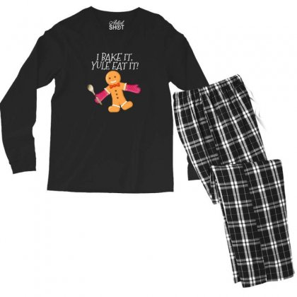 I Bake It Yule Eat It Gingerbread Man Cute Christmas Men's Long Sleeve Pajama Set Designed By Sr88
