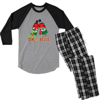 Gingle Bells Funny Merry Christmas Drinking Men's 3/4 Sleeve Pajama Set Designed By Sr88