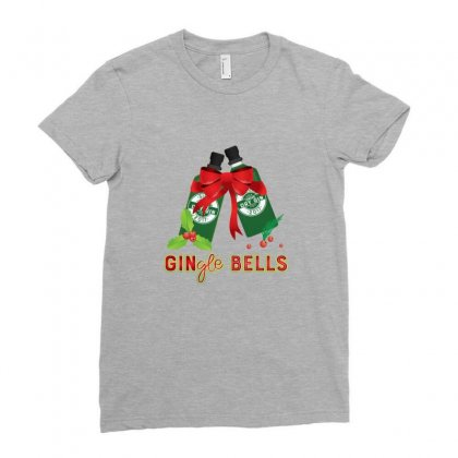 Gingle Bells Funny Merry Christmas Drinking Ladies Fitted T-shirt Designed By Sr88