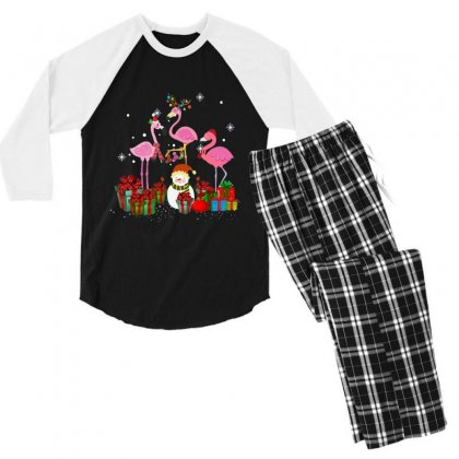 Three Flamingos Christmas Xmas Santa Men's 3/4 Sleeve Pajama Set Designed By Kakashop