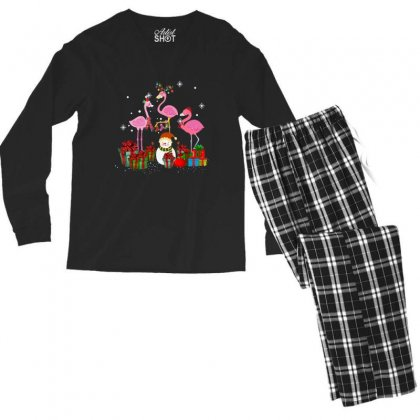 Three Flamingos Christmas Xmas Santa Men's Long Sleeve Pajama Set Designed By Kakashop