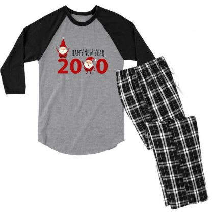 Merry Christmas Xmas Santa Happy New Year Men's 3/4 Sleeve Pajama Set Designed By Sr88