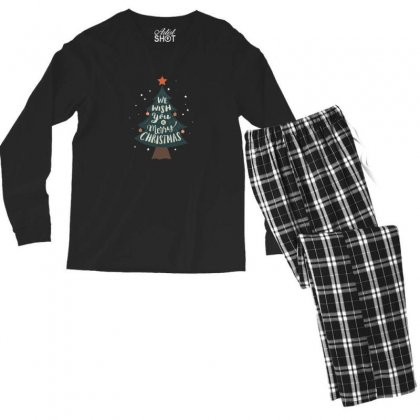 We Wish You Merry Christmas Tree Men's Long Sleeve Pajama Set Designed By Sr88