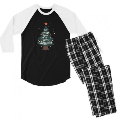 We Wish You Merry Christmas Tree Men's 3/4 Sleeve Pajama Set Designed By Sr88