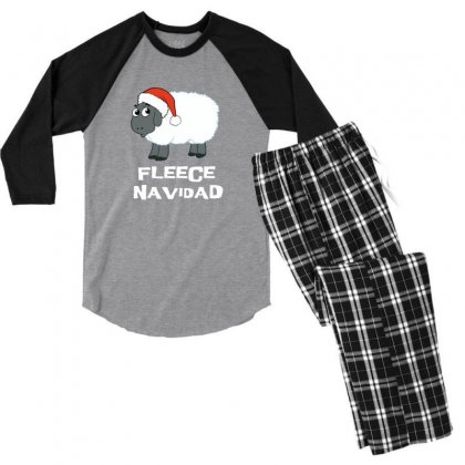 Fleece Navidad Funny Sheep Christmas Men's 3/4 Sleeve Pajama Set Designed By Sr88