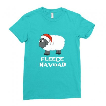 Fleece Navidad Funny Sheep Christmas Ladies Fitted T-shirt Designed By Sr88