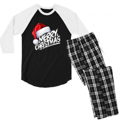 Merry Christmas Men's 3/4 Sleeve Pajama Set Designed By Sr88