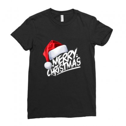 Merry Christmas Ladies Fitted T-shirt Designed By Sr88
