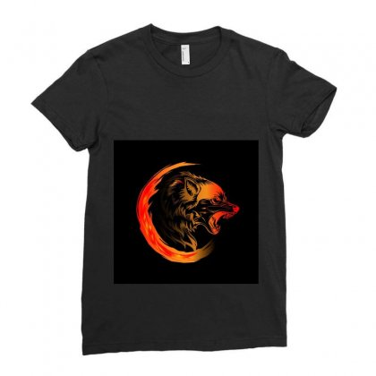 Amoled Wolf Ladies Fitted T-shirt Designed By Itsjvs