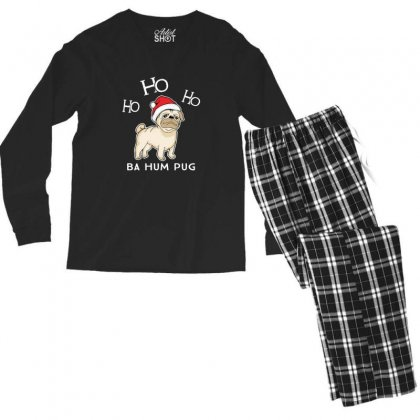 Bah Hum Pug Christmas Pug Santa Men's Long Sleeve Pajama Set Designed By Sr88