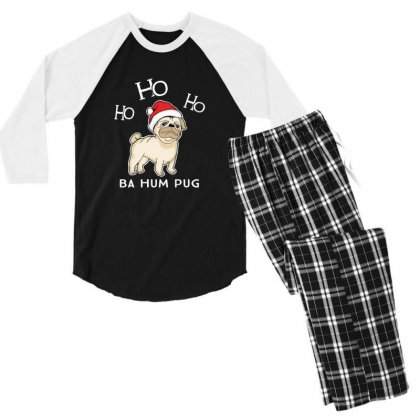 Bah Hum Pug Christmas Pug Santa Men's 3/4 Sleeve Pajama Set Designed By Sr88