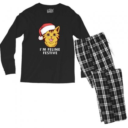 Cute I'm Feline Festive Cat Christmas Men's Long Sleeve Pajama Set Designed By Sr88