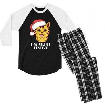 Cute I'm Feline Festive Cat Christmas Men's 3/4 Sleeve Pajama Set Designed By Sr88