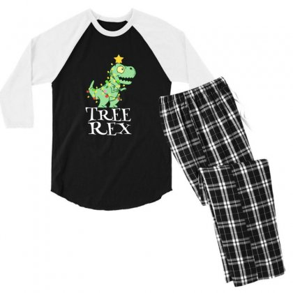 Cute Little Baby Tree Rex Dinosaur Christmas Men's 3/4 Sleeve Pajama Set Designed By Sr88