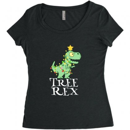 Cute Little Baby Tree Rex Dinosaur Christmas Women's Triblend Scoop T-shirt Designed By Sr88