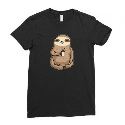 Coffee Sloth Ladies Fitted T-shirt Designed By B4en1