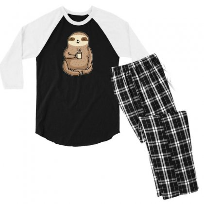 Coffee Sloth Men's 3/4 Sleeve Pajama Set Designed By B4en1