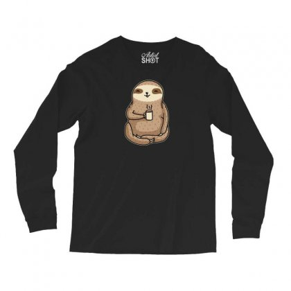 Coffee Sloth Long Sleeve Shirts Designed By B4en1