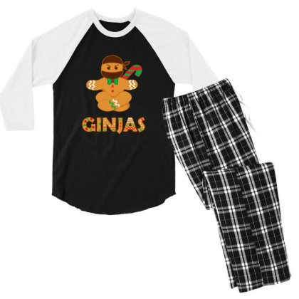 Ginjas Ginger Bread Ninja Christmas Holiday Men's 3/4 Sleeve Pajama Set Designed By Sr88