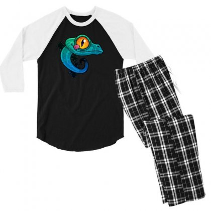Colorful Gecko Men's 3/4 Sleeve Pajama Set Designed By B4en1